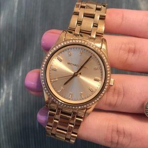 MK Pave Gold Tone Watch